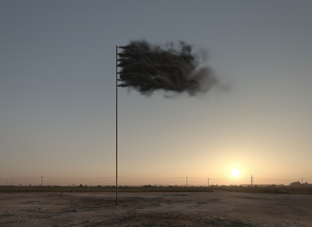 Western Flag (Spindletop, Texas), 2017. 22.4.2017, Sonnenuntergang. Still der Computersimulation © John Gerrard