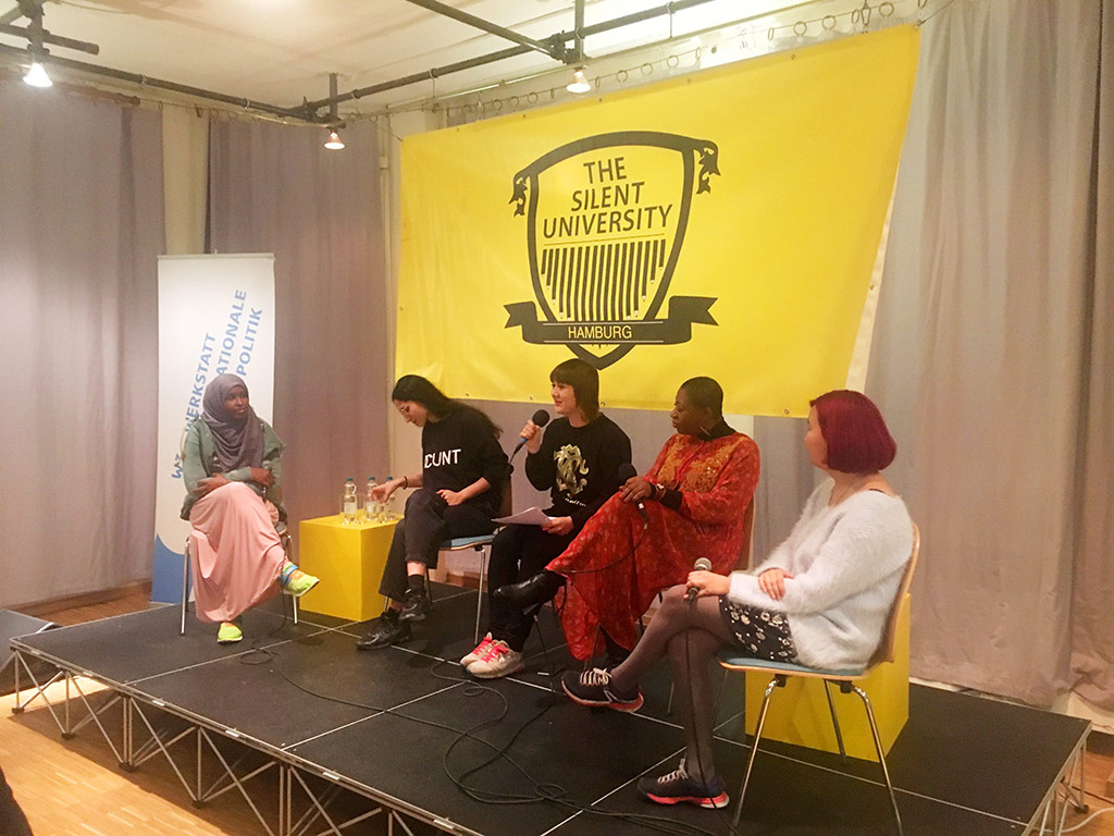 The panel: Sadia (activist), Leyla Yernice (musician), Caren Miesenberger, (independent journalist), Oloruntoyin LaToya Manly-Spain (activist), Gulzat Matisakova, (film maker)