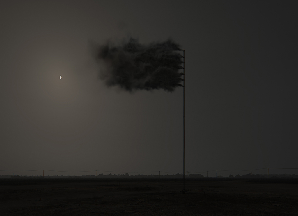 Western Flag (Spindletop, Texas), 2017. 22 April 2017, at night. Still image of the computer simulation © John Gerrard
